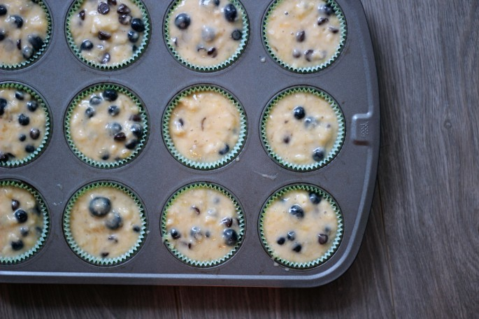 blueberry banana chocolate chip muffins batter