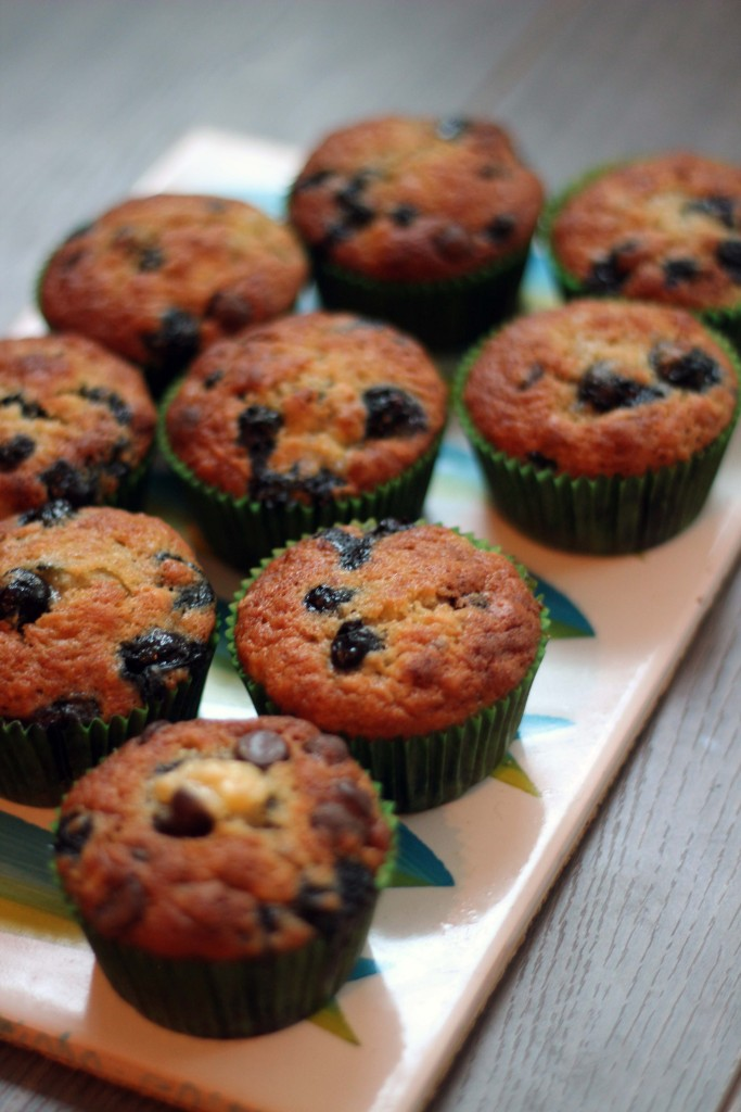 blueberry banana chocolate chip muffins