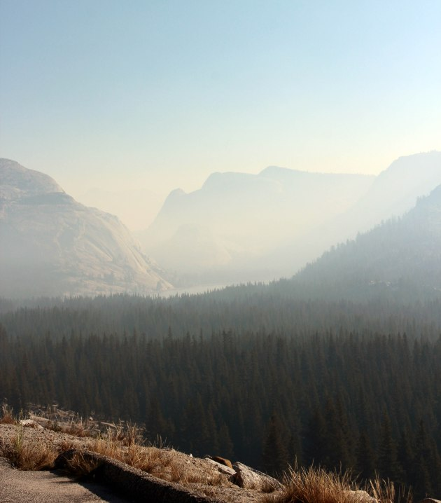 misty mountains in yosemite from controlled forest fire smoke