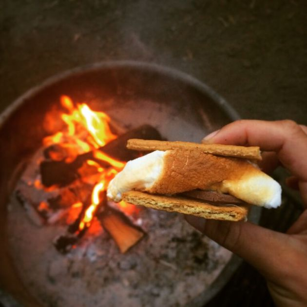 s'more in front of campfire