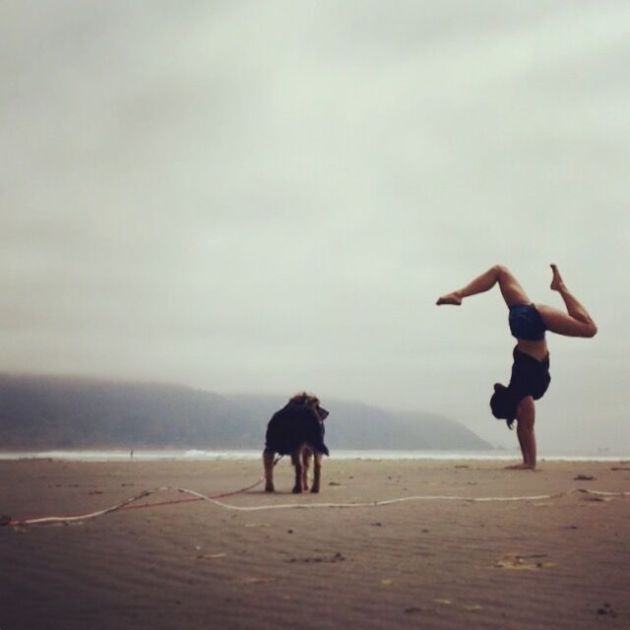 handstands on the beach in california