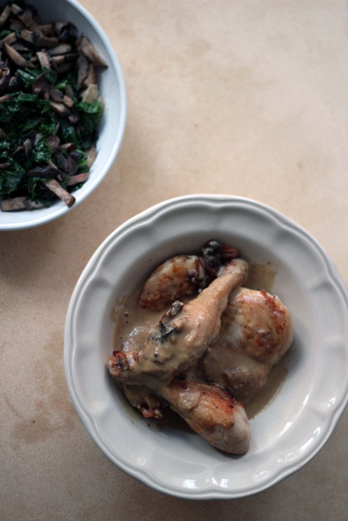 roasted chicken with dijon sauce and mushroom kale side