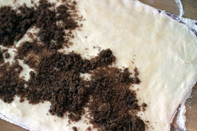 brown sugar on cinnamon bun dough