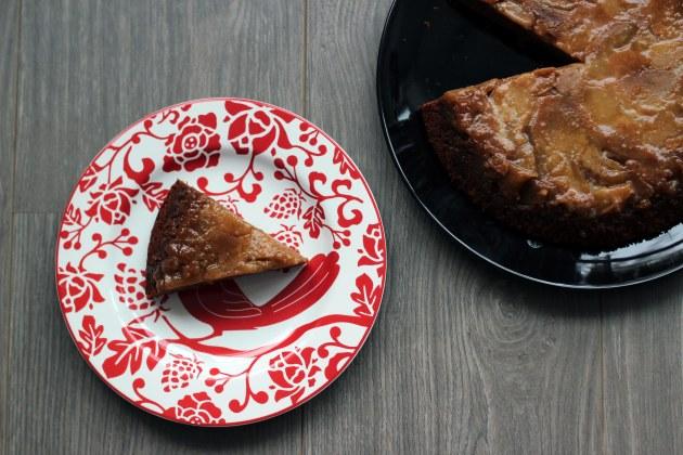 caramel apple upside-down gingerbread cake