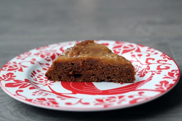 caramel apple upside-down gingerbread cake slice
