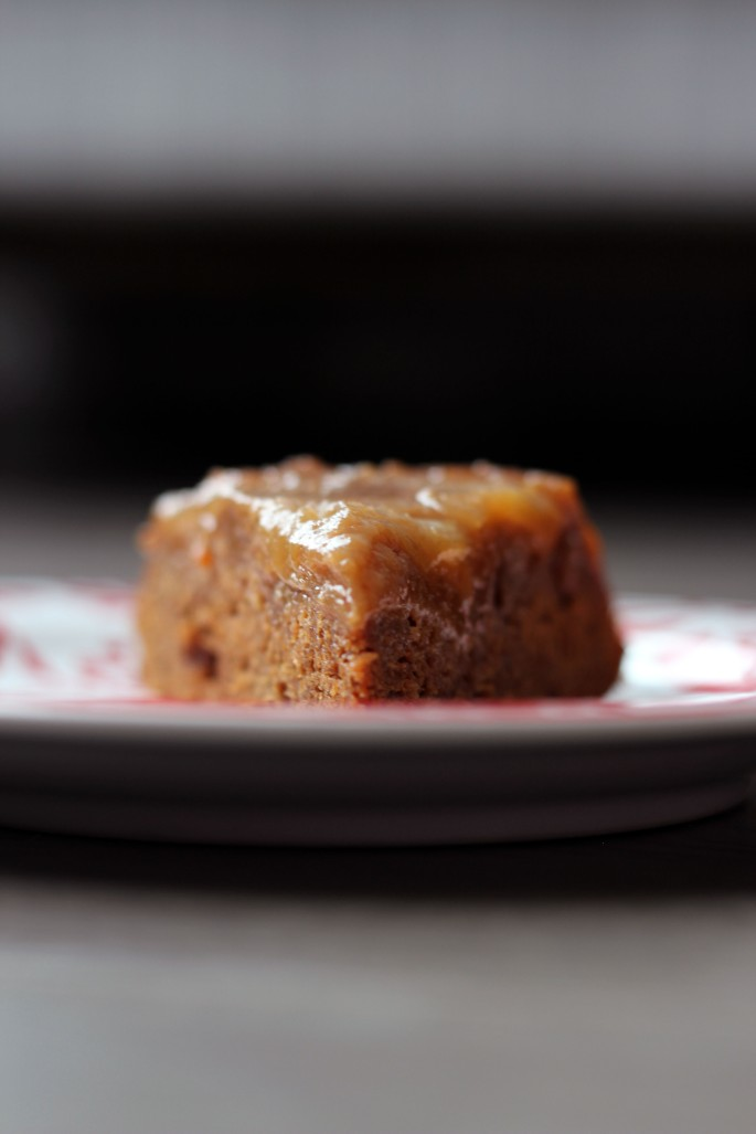 slice of caramel apple upside-down gingerbread cake