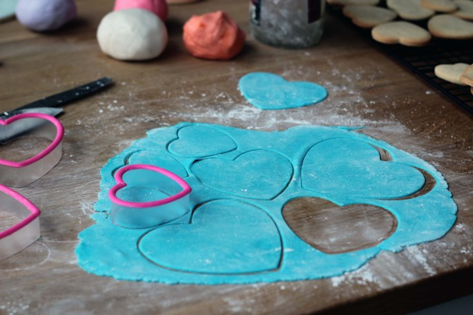 cutting out fondant with cookie cutters