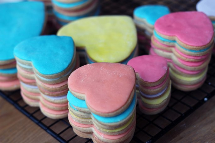 stacked fondant covered sugar cookies