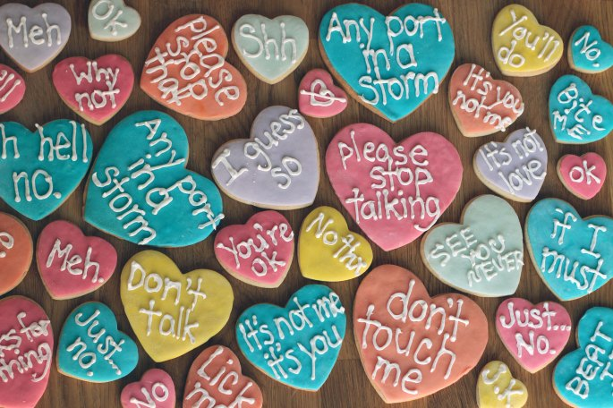 rude conversation hearts sugar cookies