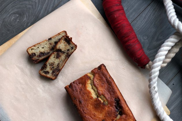 sliced chocolate chip banana bread