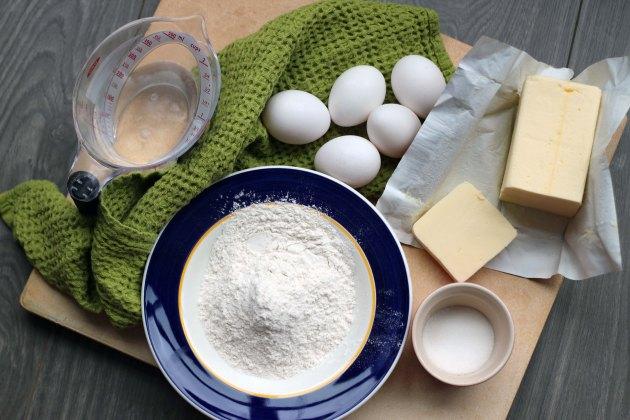cream puff ingredients mise en place