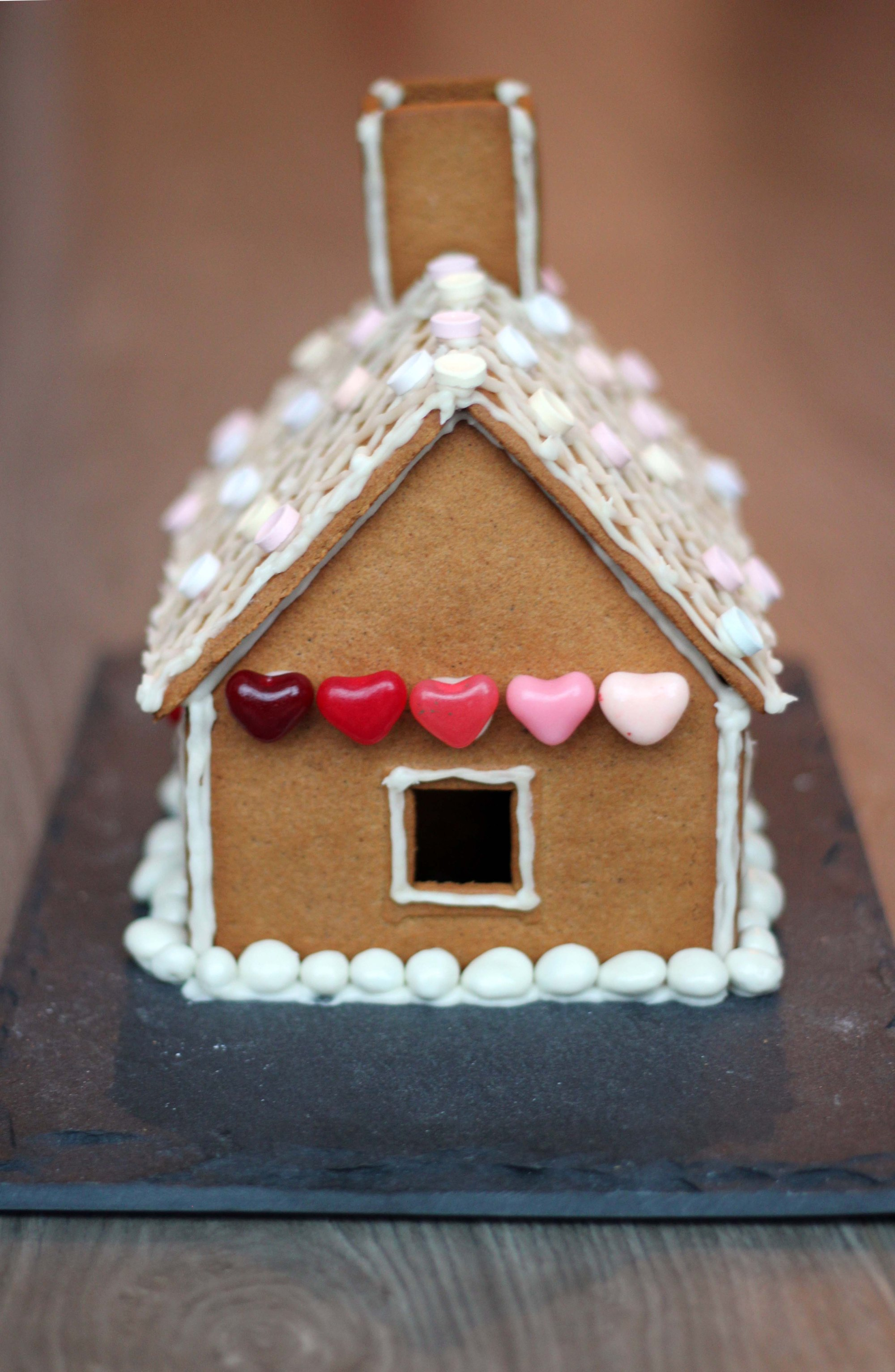 jellybeans decorated gingerbread house