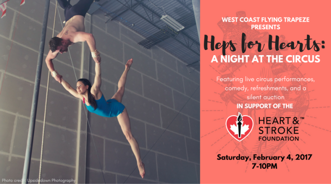 west coast flying trapeze heps for hearts charity event heart and stroke foundation