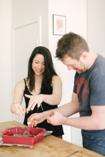 making salt water taffy for engagement photo shoot