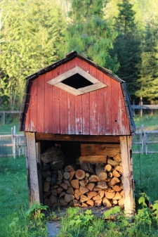 small shed holding campfire wood