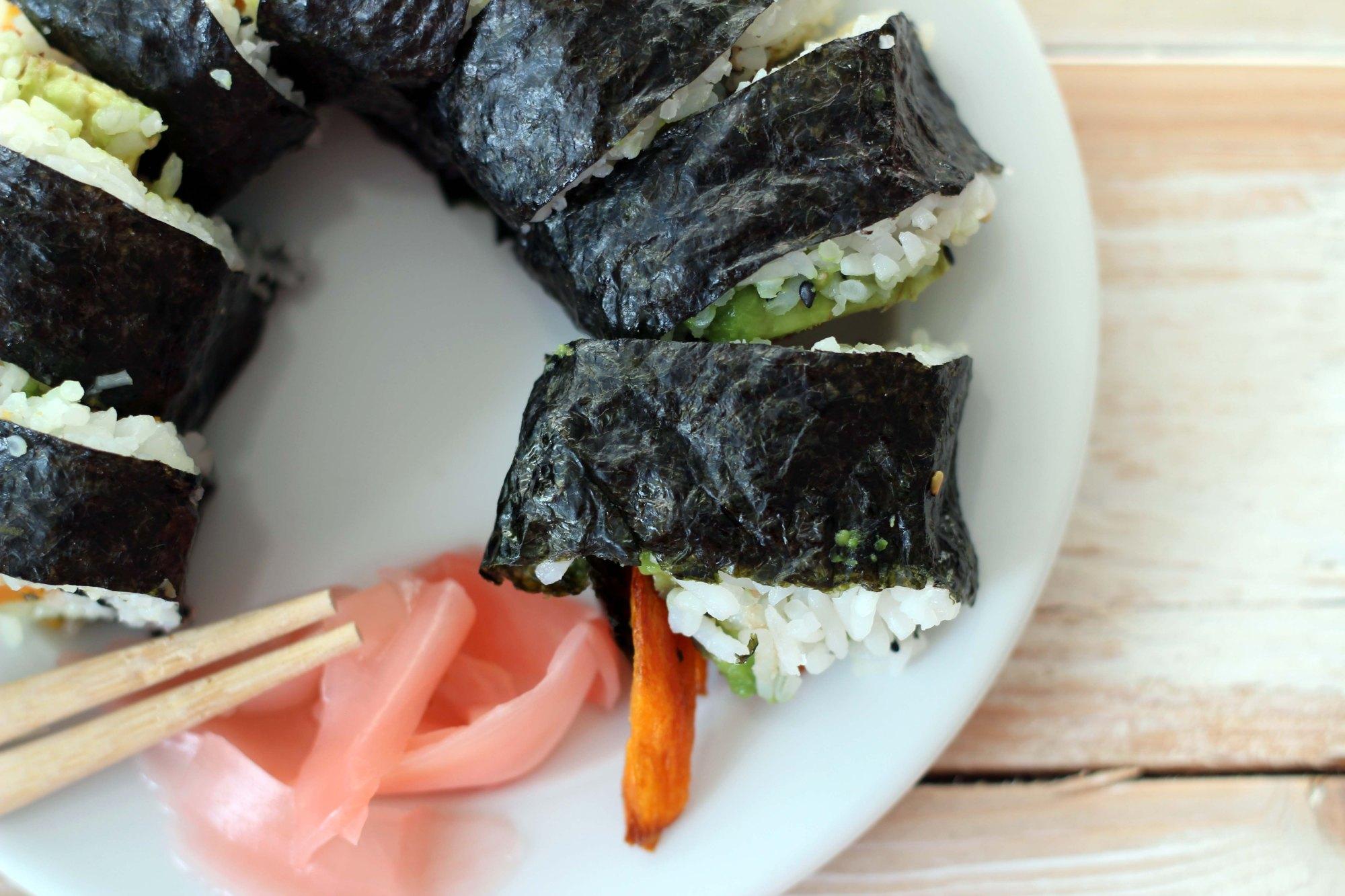 closeup of homemade yam and avocado sushi