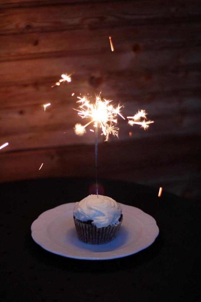 red velvet cupcake with sparkler