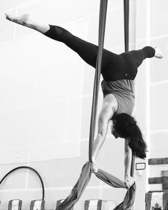 handstand on aerial silks