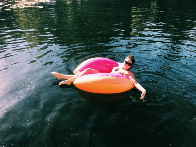 doughnut floatie on lake