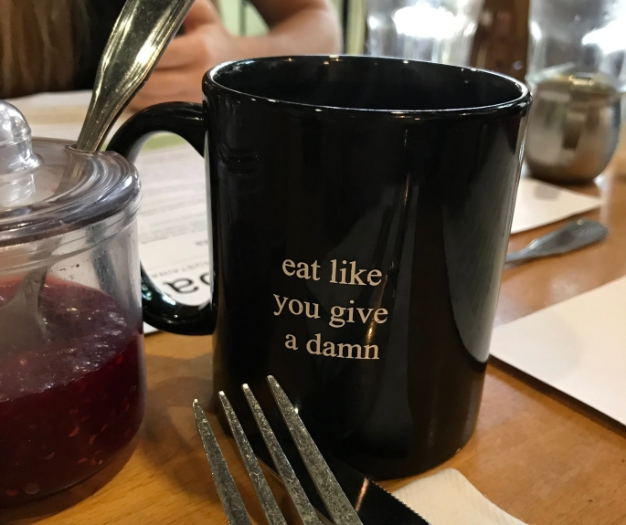eat like you give a damn mug