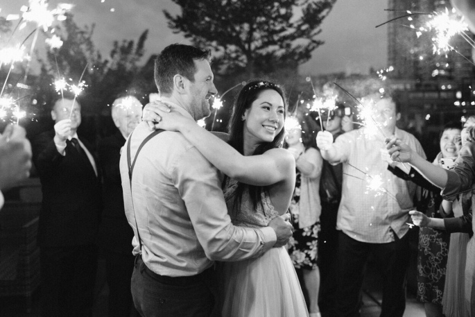 Vancouver wedding photo sparkler first dance