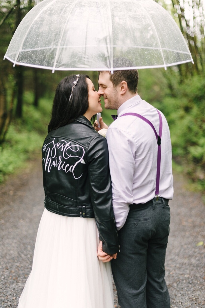 Vancouver just married jacket rainy wedding